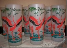 Nearly everyone in Florida had a set of these Flamingo glasses for entertaining.