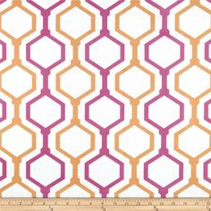 RCA Geometric Sheers Fruit Punch Orange/Pink from @fabricdotcom  This screen printed semi sheer fabric is very lightweight and perfect for window treatments. Colors include hot pink, orange and white. Made in the USA.