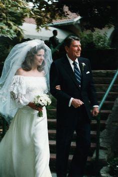 Ronald Reagan with Patti Davis at her wedding