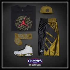 "5a4249efc7f4 Air Jordan 9 ""Statue"" Collection Available at Champs Sports"
