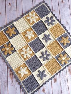 Crochet daisy blanket crochet baby blanket by Buttonupbabyboutique