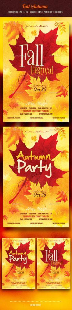 Fall Festival Flyer Template PSD #design Download