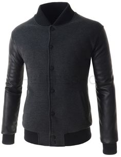 (NEJ04-CHARCOAL) Mens Casual China Collar Quilting Arm Synthetic Leather Patched Jacket