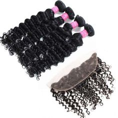 10A Brazilian virgin deep wave hair extensions 4bundles with lace frontal natural black $97.46