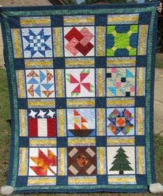 """""""2010 Flying Needles BOM Quilt of Seasons"""" - Dec 2010  (60"""" x 76"""")    These were duplicates of every block I turned in for the 2010 BOM activities at my local quilt guild.  Patty Butcher quilted my original quilting designs - a different one for each block, bless her heart!"""