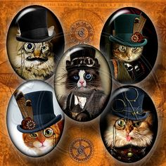 Steampunk Cat - Digital Collage Sheet CG-556O - 30x40mm, 22x30mm ovals - Printable Instant Download for Cameos, Cabochons, Pendants, Crafts