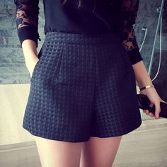2016 New Fashion Europe and Joker dark Plaid shorts high-waisted shorts Korean Casual women Jeans Shorts crochet shorts Measurements chart(Please allow as the error range for manual measure) Bermudas Fashion, Fashion Pants, Leggings Fashion, Europe Fashion, Fashion 2017, Style Fashion, Ladies Fashion, Fashion Design, Style Casual