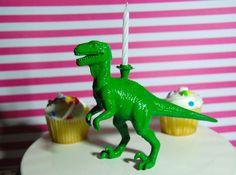 Green Dinosaur Birthday Candle Holder by TonysDinostore on Etsy