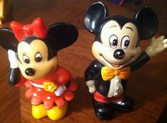 Vintage Mickey & Minnie Mouse Piggy Banks 1970's