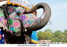stock photo : A painted elephant at the Elephant Festival in Jaipur, India