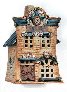 "Jan Richardson ""Saloon"" ceramic building"