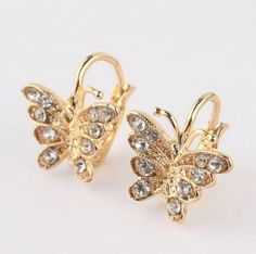 18K Gold Plated Rhinestones Bow Butterfly Hoop Earrings