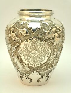 Antiques Other Asian Antiques Large Heavy Gauge Embossed Eastern Silver Cream Jug C1900