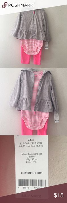 Selling this Pink and grey 3-piece micro fleece Carter outfit on Poshmark! My username is: seraphinasplace. #shopmycloset #poshmark #fashion #shopping #style #forsale #Carter's #Other
