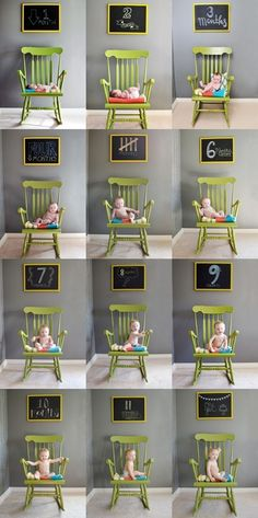 month-by-month pictures of baby in a rocking chair with chalkboard showing the time