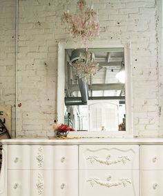 Painted Cottage Chic Shabby White French Mirror by paintedcottages, $120.00