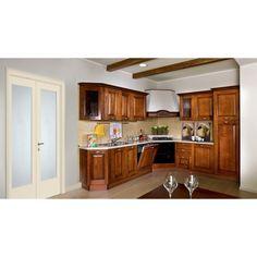 Cucina ad angolo in legno massello con finitura in noce - Cucina