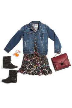 DIY denim jacket, oldnavy.com; Bongo dress, sears.com; Bag, loefflerrandall.com; Bongo shoes, sears.com     - Seventeen.com