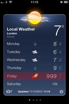 The end of the world, according to the Met office. Apps don't lie :)