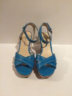Franco Sarto Turquoise Blue Wedges Cork Heel Size 8.5  #FrancoSarto #PlatformsWedges #Casual
