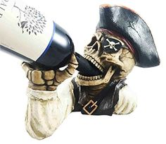 Wine Racks - Evil Dead Sea Skeleton Captain Gold Tooth Pirate Wine Bottle Holder Figurine *** Learn more by visiting the image link.