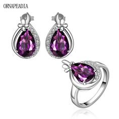 Top Quality Extravagant Jewelry set Fashion Party Big Crystal Earring&Ring Set for lady