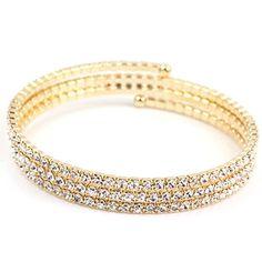 FC Yellow Gold GP CZ Paved Crystal Twisty Tennis Wrap Wedding Tone Bracelet * Continue @
