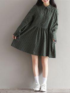 Vintage Women Printed High Waist Long Sleeve Cotton Dresses