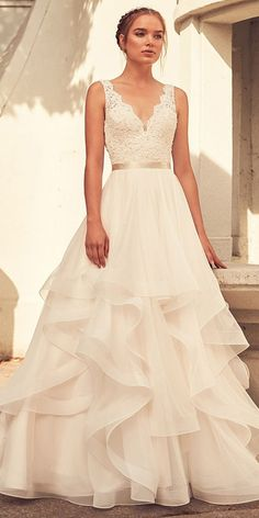 f5c4724de  248.80  Junoesque Lace   Tulle V-neck Neckline A-line Wedding Dress With  Belt   Beadings   Ruffles