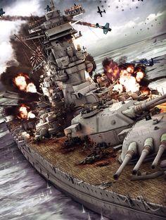 Yamato, last battle, , komic - CGSociety Aircraft - Aircraft art - Aircraft design - vintage Aircraf Military Diorama, Military Art, World Of Warships Wallpaper, Poder Naval, Yamato Battleship, Imperial Japanese Navy, Us Navy Ships, Naval History, Aircraft Design