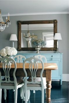 Dining room idea- Going with the blue and white theme for formal and beautiful :) Trying to bring a rustic element in though.