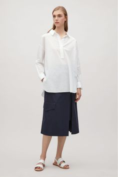 COS image 1 of Light cotton shirt in Optic white