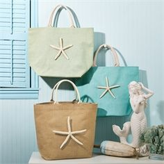 Starfish Jute Bag Assorted 3 Colors Jute Bags, Starfish, Totes, Gift Wrapping, Watercolor, Colors, Gifts, Paper Wrapping, Pen And Wash