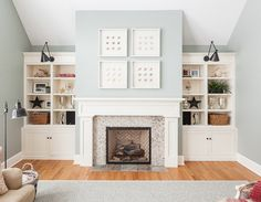built-ins House of Turquoise White Fireplace Mantels, Fireplace Surrounds, Fireplace Ideas, Modern Fireplace, Fireplace Lighting, Cottage Fireplace, Fireplace Furniture, Fireplace Shelves, Custom Fireplace