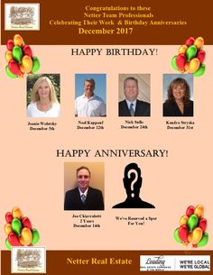 Congratulations to these Netter Real Estate Team Professionals who celebrated birthdays and work anniversaries in December 2017