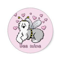 old english sheepdog cartoon art | Bee Mine Old English Sheepdog Round Sticker