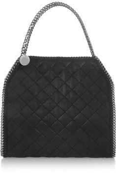 Stella McCartney|The Falabella quilted faux brushed-leather shoulder bag|NET-A-PORTER.COM