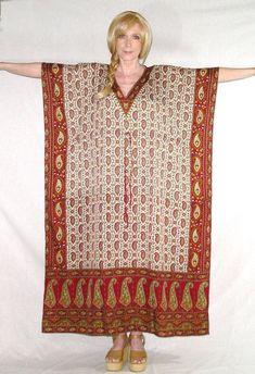 India Kaftan Maxi Dress Red Paisley Exotic Print Caftan Boho Gown Bohemian Hippie Gypsy  Small Medium Large Extra Large Plus Sizes Too
