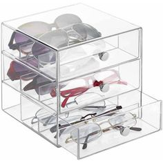 InterDesign Clarity Eyeglass Sunglasses Readers Case, 3 Drawer, Clear - Walmart.com