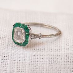 Art Deco Platinum .85 Carat Diamond and Emerald by hotvintage