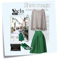 Shein-Green Plaid Skirt