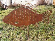 °^°Edelrost Karpfen auf Stab°^°Garten Beetstecker Metall Fisch Rost Teich Deko