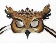 Desert Eagle Owl Leather Mask by LibertiniArts on Etsy