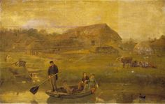 "Oil painting from the Fine Art collection. ""Amberley Ferry"" by Alfred Fitzwalter Grace, showing figures in a boat on a river . In the background are farmyard buildings. 1872."