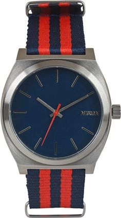 Sporty red and blue watch from #Nixon. The Time Teller Watch. http://www.swell.com/Party-Time-/NIXON-THE-TIME-TELLER-WATCH-9?cs=NV# $75