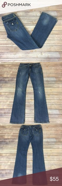 "Miss Me Womens Bootcut Jeans Size 29 Distressed Miss Me Jeans. Great condition. Light wear, tons of life left! Size 29.  98% cotton 2% elastane.  Measurements: waist laying flat is 14.5"", length along side 42"" inseam 34"", front rise 9"" back rise 13""   Need any other information? Measurements? Materials? Feel free to ask! Unfortunately, I am unable to model items!  Don't be shy, I always welcome reasonable offers! Fast shipping! Same or next day!  B002 Miss Me Jeans Boot Cut"