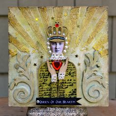 Queen of Our Hearts mixed media plaque tutorial using a Paper Whimsy automaton…