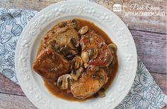 #Paleo Pork Chops in a delicious Mushroom Sauce - www.paleocupboard.com