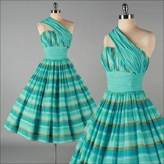Vintage aqua stripe cocktail dress - I can so see myself wearing this, sipping on a Manhattan. Vintage Outfits, Vintage 1950s Dresses, Vintage Wear, Vintage Looks, Vintage Fashion 1950s, Vintage Couture, Vintage Mode, Retro Fashion, Vintage Style