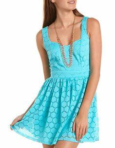Heart Cutout Lace Skater Dress: Charlotte Russe
